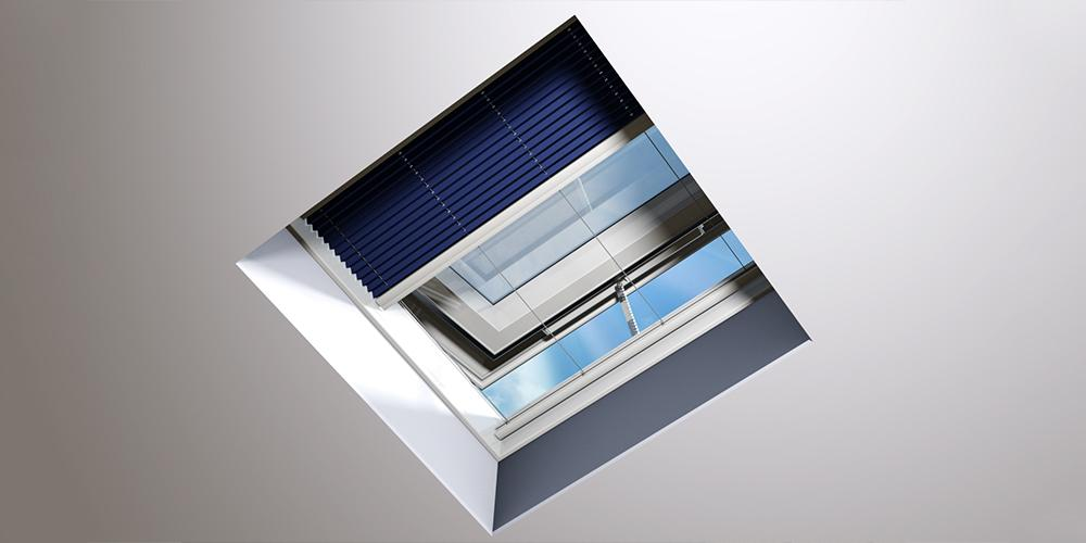 Flat Roof Window OKPOL with Flat Glass- Vented - Shading Device
